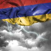 Armenia waving flag on a bad day — Stock Photo