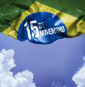Dia 15 de Novembro on Brazil flag — Stock Photo