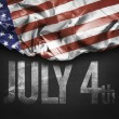 USA flag and July 4th on a blackboard — Stock Photo #66142591