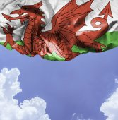 Wales waving flag on a beautiful day — Stock Photo