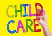 Child Care written on the wipe board — Stock Photo