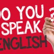 Do you speak English written on the wipe board — Stock Photo #66760933