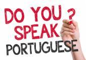 Do you speak Portuguese written on the wipe board — Stock Photo