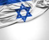 Israeli waving flag on white background — Stock Photo