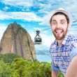 Happy young man taking a selfie photo in Rio de Janeiro, Brazil — Stock Photo #67151279