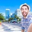 Happy young man taking a selfie photo in Rio de Janeiro, Brazil — Stock Photo #67151641