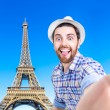 Happy young man taking a selfie photo in Paris, France — Stockfoto #67151805