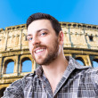 Happy young man taking a selfie photo in Rome, Italy — Stockfoto #69764027