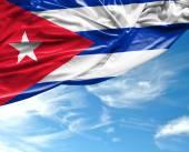 Cuban waving flag on a beautiful day — Stock Photo