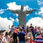 RIO DE JANEIRO - CIRCA NOV 2014: Tourists at the Christ the Redeemer, located on top of Corcovado, in Rio de Janeiro, Brazil. — Stock Photo #70450915