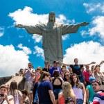 RIO DE JANEIRO - CIRCA NOV 2014: Tourists at the Christ the Redeemer, located on top of Corcovado, in Rio de Janeiro, Brazil. — Stock Photo #70450945