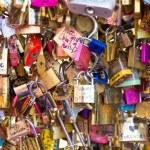 Love Padlocks at Pont de l'Archevche in Paris — Stock Photo #71315781