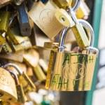 Love Padlocks at Pont de l'Archevche in Paris — Stock Photo #71315803