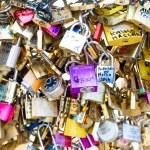 Love Padlocks at Pont de l'Archevche in Paris — Stock Photo #71315841