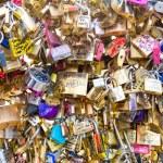 Love Padlocks at Pont de l'Archevche in Paris — Stock Photo #71315911