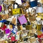 Love Padlocks at Pont de l'Archevche in Paris — Stock Photo #71315931
