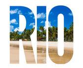 Rio text on white background — Foto de Stock
