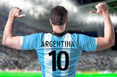 Argentine soccer player in the stadium — Stock Photo
