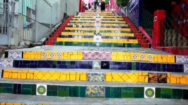 Escadaria Selaron (Stairs) in Rio de Janeiro — Stock Video