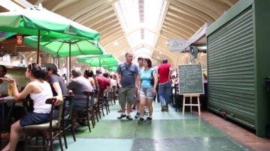Restauranger på kommunala marknaden i Sao Paulo — Stockvideo