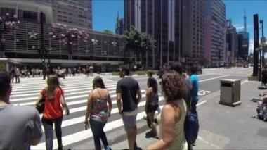 Paulista Avenue in Sao Paulo — Vídeo de stock