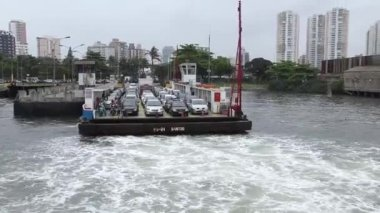 Ferry between Guaruja and Santos in Sao Paulo — Stock Video