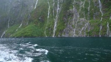 Milford Sound Fjord Waterfall in New Zealand — Vídeo stock