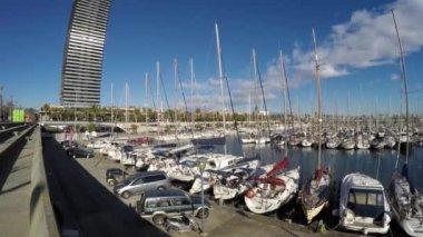Přístav Barcelona ve Španělsku — Stock video