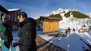 Ski Station on mount — Stock Video