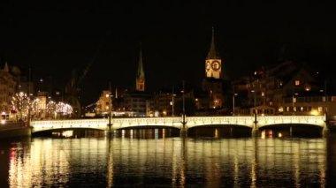 Zurigo di notte in Svizzera — Video Stock