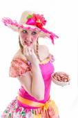 "Girl wearing ""Caipira"" clothes for the Brazilian Festa Junina — Stock Photo"