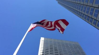 American waving flag in a beautiful day — Wideo stockowe