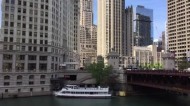 Chicago River in USA — Stock Video