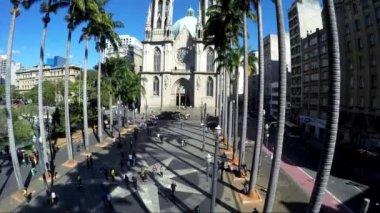 Veduta aerea della Cattedrale di sé a sao paulo — Video Stock