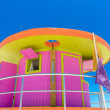 Pink lifeguard house in typical architecture during summer day in Miami Beach, Florida, USA — Stock Photo #76310043