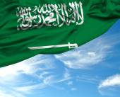 Saudi Arabia waving flag on a beautiful day — Stockfoto