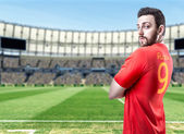 Russian soccer player in the stadium — Stock Photo