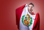 Fan holding the flag of Paraguay on red background — Stok fotoğraf