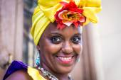 Portrait of african cuban woman looking at camera smiling — Stock Photo
