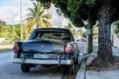 Old car on Vedado district in Havana, Cuba. — Stock Photo