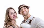 Couple with glass of beer — Stock Photo