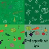 Set with fresh doodle veggies - two seamless patterns and two sets — 图库矢量图片