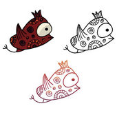 Colorful ethnic hand-drawn creature monster in 3 variations — Stock Vector