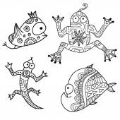 Set of 3 contour ethnic hand-drawn creature monsters — Stock Vector