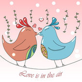 Two cute cartoon birds sitting on the tree branch and kissing each other. Pretty Valentines day postcard — Stock Vector
