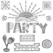 Tiki island party set — Stock Vector