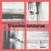 Set of four vector grunge wood textures — Stok Vektör