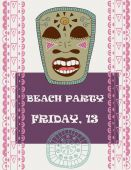 Tiki island party. Flyer template in pretty retro style — Stock vektor