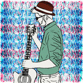 Young hipster man in hat with a beard tunes the guitar. Bright background — Stock Vector
