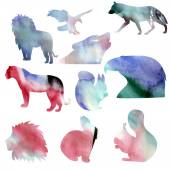 Set of watercolor animals silhouetthes — Stock Vector